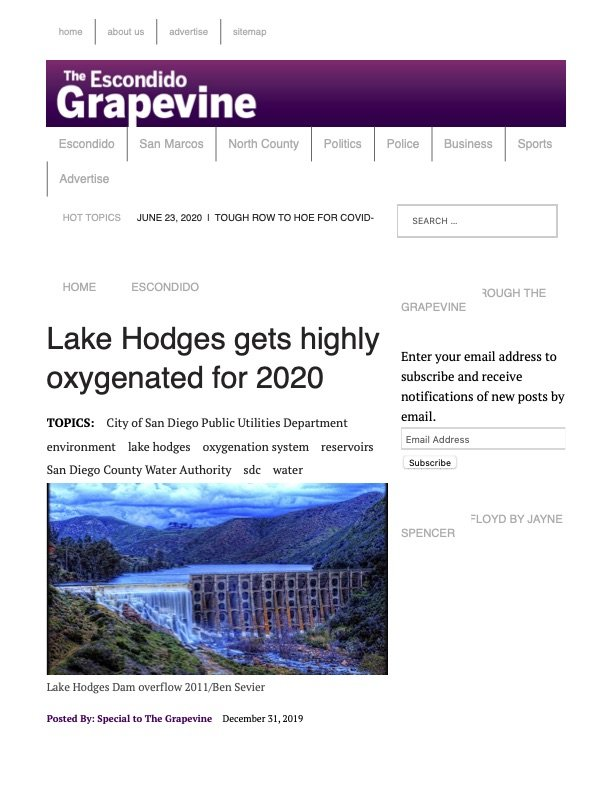 Escondido Grapevine - Lake Hodges Gets Highly Oxygenated for 2020