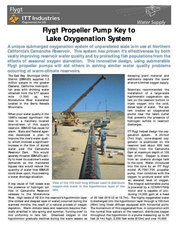 Flygt Propeller Pump Key to Lake Oxygenation System at Camanche Reservoir